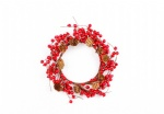 Red berries Wreath with pine cone