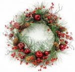 Pine needle wreath with red berries,apples & pine cone