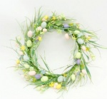 Egg wreath with green leaves